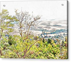 Acrylic Print featuring the photograph Autumn View Pienza by Dorothy Berry-Lound