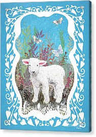 Baby Lamb With White Butterflies Acrylic Print