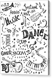 Background Made Up Of Music Doodles Acrylic Print by Kalistratova