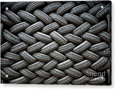 Background Of The Wall Of Tires Laid At Acrylic Print