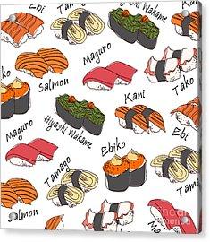 Background Sushi Set, Vector Acrylic Print