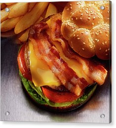 Bacon Cheeseburger With French Fries Acrylic Print by Jupiterimages