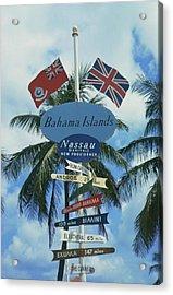 Bahamas Signpost Acrylic Print by Slim Aarons
