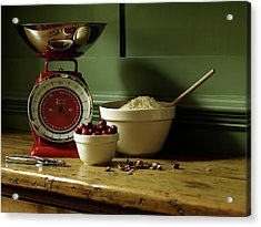 Baking Ingredients Sit On Table Acrylic Print by Max Oppenheim
