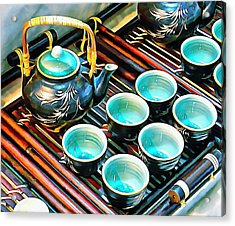 Acrylic Print featuring the photograph Bamboo Handle Teapot And Cups by Dorothy Berry-Lound