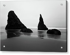 Acrylic Print featuring the photograph Bandon Beach Oregon Bw by Rospotte Photography