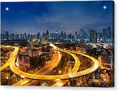 Bangkok Cityscape. Bangkok Night View Acrylic Print