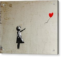 Acrylic Print featuring the photograph Banksy Balloon Girl Amsterdam by Gigi Ebert