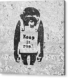 Acrylic Print featuring the photograph Banksy Chimp Keep It Real by Gigi Ebert
