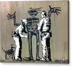 Acrylic Print featuring the photograph Banksy Coppers Pat Down by Gigi Ebert