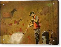 Acrylic Print featuring the photograph Banksy's Cave Painting Cleaner by Gigi Ebert