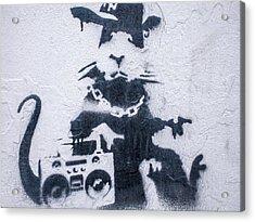Acrylic Print featuring the photograph Banksy's Gansta Rat by Gigi Ebert