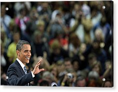 Barack Obama Campaigns In Golden Acrylic Print by John Moore