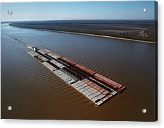 Barge Traffic On The Mississippi River Acrylic Print