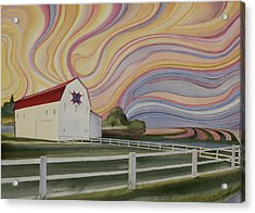 Acrylic Print featuring the painting Barn On Pretty Prairie by Scott Kirby