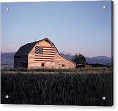 Barn W Us Flag, Co Acrylic Print by Chris Rogers