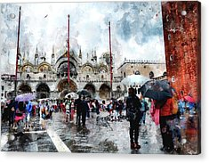 Basilica Of Saint Mark In Venice With Watercolor Look Acrylic Print