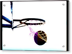Basketball Going Through Net, Close-up Acrylic Print by Cyberimage