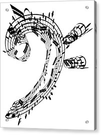Bass Clef Made Of Music Notes Acrylic Print by Ian Mckinnell