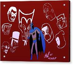 Batman's Rogues' Gallery Acrylic Print by John Lavernoich