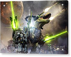 Battle Rex And A Team Of Commandos Acrylic Print