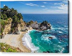 Beach And Falls, Julia Pfeiffer Beach Acrylic Print by Lucky-photographer