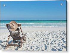 Beach Chair With A Hat, On An Empty Acrylic Print