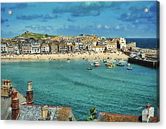 Beach From Across Bay St. Ives, Cornwall, England Acrylic Print