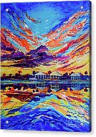 Beach House Reflections Fluid Acrylic Acrylic Print