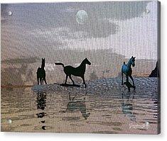 Beach Of Wild Horses Acrylic Print