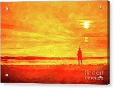 Beach Sunset Wish You Were Here Acrylic Print