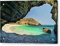 Almiro Beach With Cave Acrylic Print