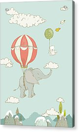 Acrylic Print featuring the painting Floating Elephant And Bear Whimsical Animals by Matthias Hauser