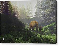 Bear Wwith Cub Acrylic Print