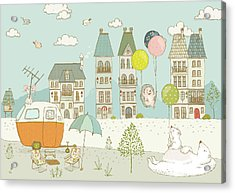 Acrylic Print featuring the painting Bears And Mice Outside The City Cute Whimsical Kids Art by Matthias Hauser