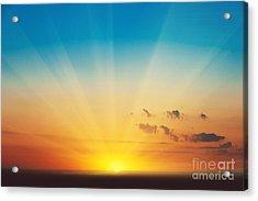 Beautiful Blazing Sunset Landscape At Acrylic Print