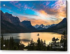 Beautiful Colorful Sunset Over St. Mary Acrylic Print