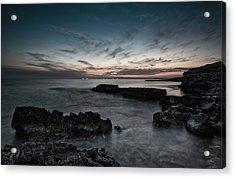 Acrylic Print featuring the photograph Beautiful Dramatic Sunset On A Rocky Coastline by Michalakis Ppalis