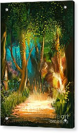 Beautiful Forest Path In Acrylic Print