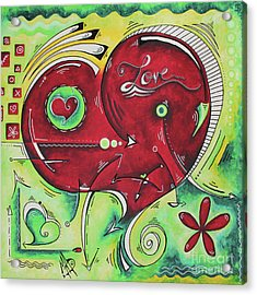 Beautiful Green And Red Heart Painting Infinite Love Pop Of Love Collection By Madart Acrylic Print