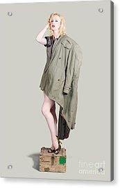 Beautiful Military Pinup Girl. Classic Beauty Acrylic Print