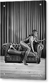 Beautiful Naked Man With Mask Posing On A Sofa Acrylic Print