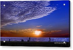 Beautiful Sunset With Ships And People Acrylic Print