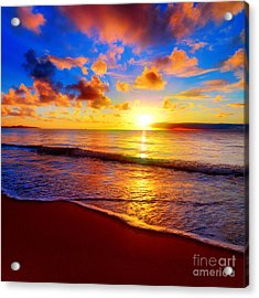 Beautiful Tropical Sunset On The Beach Acrylic Print
