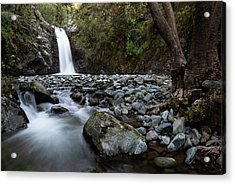 Acrylic Print featuring the photograph Beautiful Waterfal, Troodos Mountains, Cyprus by Michalakis Ppalis