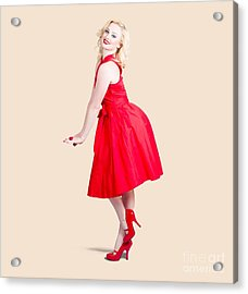 Beautiful Woman Model In Red Dress And High Heels Acrylic Print