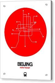 Beijing Red Subway Map Acrylic Print