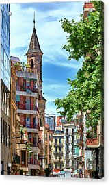 Acrylic Print featuring the photograph Bell Tower And Apartments In Barcelona by Eduardo Jose Accorinti