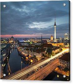 Berlin Cityscape Acrylic Print by Rafael Dols