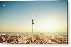 Berlin Cityscape With Fernsehturm At Acrylic Print by Ricowde